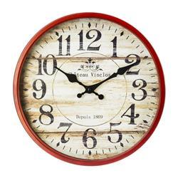 Zegar ścienny vintage czerwony 30 cm