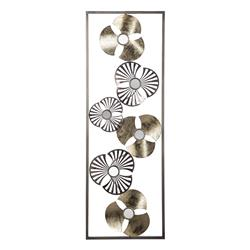 Metalowa ozdoba ścienna kwiaty 31x89 cm