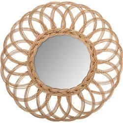 Brązowe wiklinowe lustro Flocons 50 cm