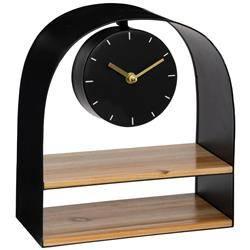 Zegar stołowy z półką czarny