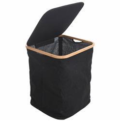 Kosz na pranie materiałowy czarny 52 cm