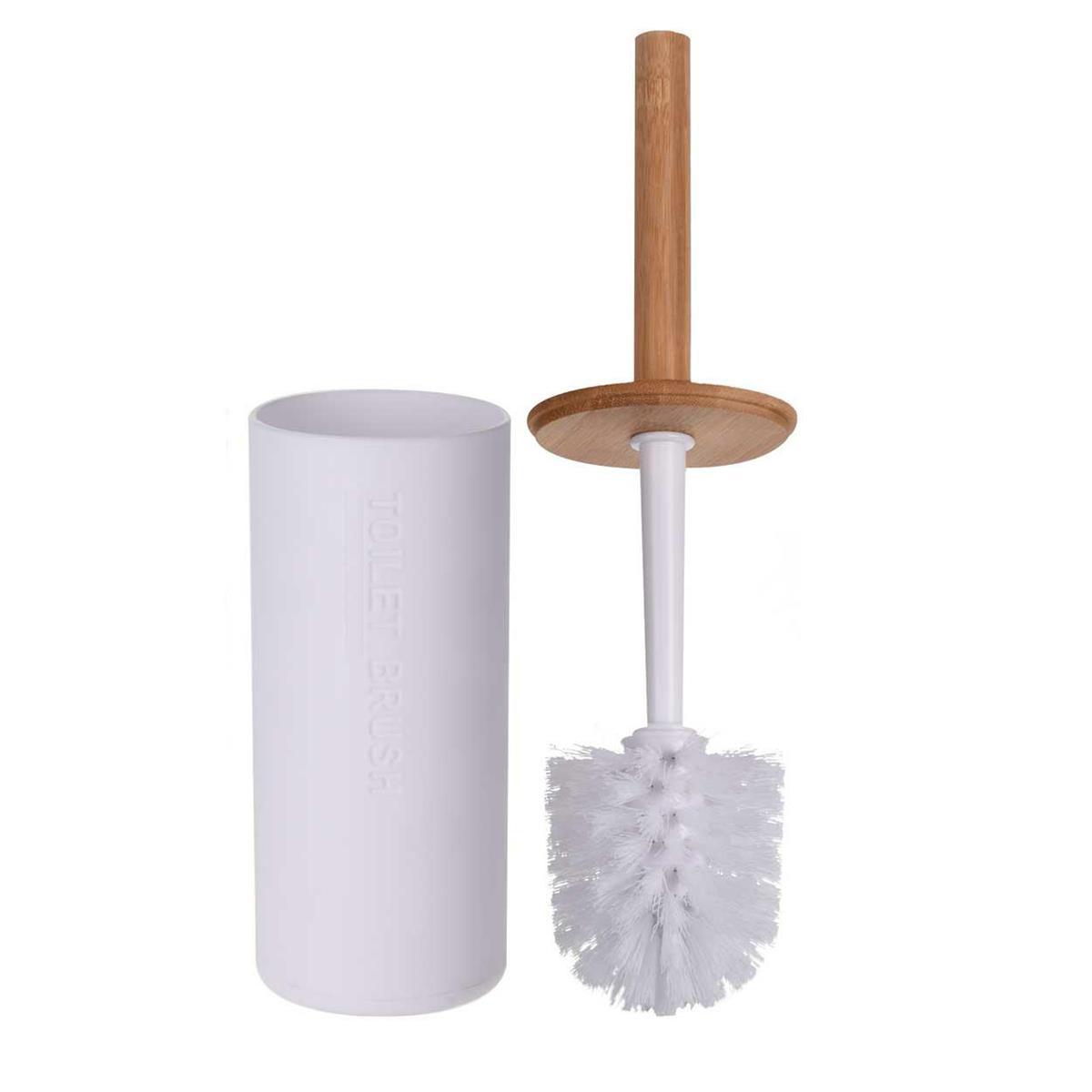 Szczotka toaletowa biała drewniana