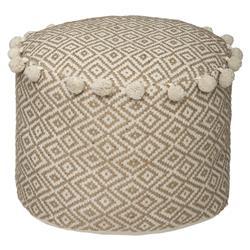 Okrągła pufa Conoju z pomponami 39 cm