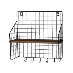Półka metalowa z wieszakami 28x30 cm