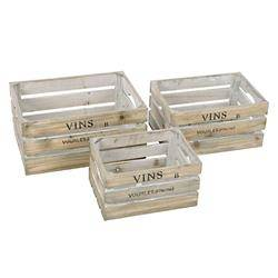 Komplet 3 drewnianych skrzynek Vins