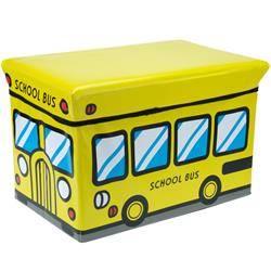 Pojemnik na zabawki z pufą School Bus