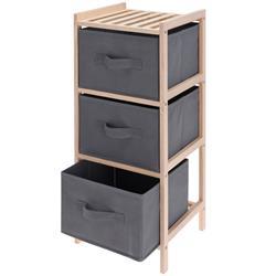 Regał 3 poziomowy drewniany z szufladami