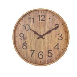 Zegar ścienny w imitacji drewna beż