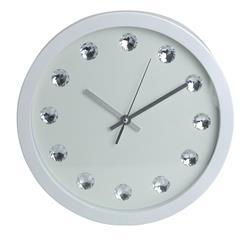 Zegar ścienny z kryształkami 30 cm biały