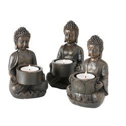 Komplet 3 świeczników na tealighty Budda