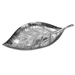 Srebrna patera w kształcie liścia