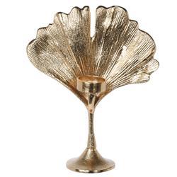 Świecznik złoty liść 26,5 cm