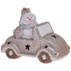 Ozdoba świąteczna Samochód led bałwanek