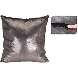 Poduszka z cekinami czarno-miedziana