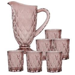Dzbanek i szklanki - komplet różowy