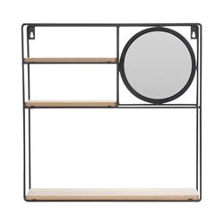 Półka ścienna z lustrem 40x40x10 cm