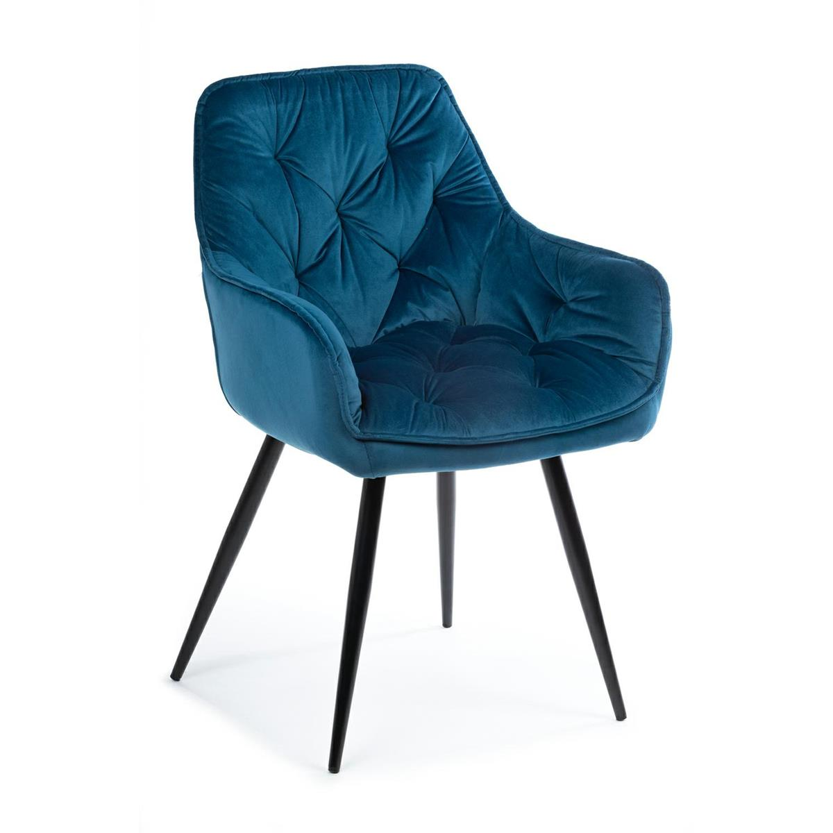 Krzesło pikowane Hana Black Blue