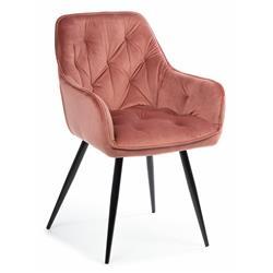 Krzesło pikowane Hana Black Salmon