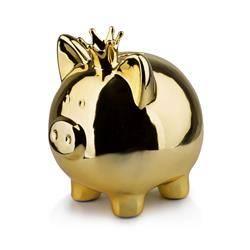 Skarbonka świnka Queen Piggy złota 19 cm