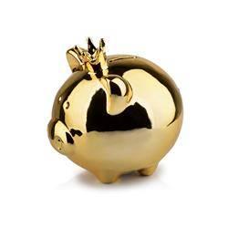 Skarbonka świnka Queen Piggy złota 15 cm