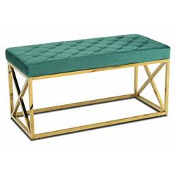 Pikowane siedzisko Nelja Gold Green