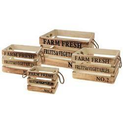 Zestaw 4 drewnianych skrzynek Farm Fresh