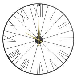 Zegar ścienny metalowy czarno złoty