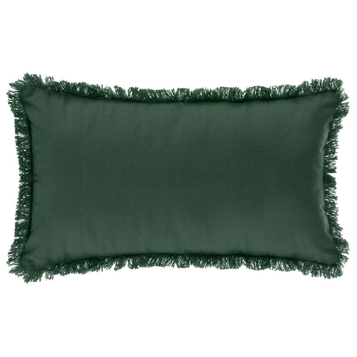 Poduszka z frędzlami 30x50 cm zielona