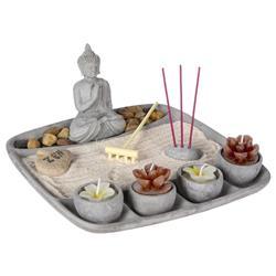 Ogród Zen z figurką Buddy 23x23 cm