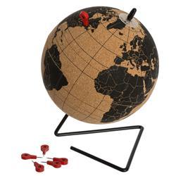 Korkowy globus dekoracyjny z pinezkami