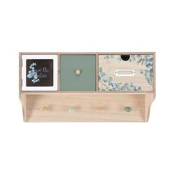 Półka ścienna z szufladkami wzór kwiaty