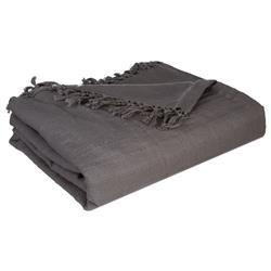 Narzuta na łóżko 230x250 frędzle grafit