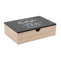 Pudełko na herbatę drewniane czarne 24cm