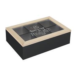 Pudełko na herbatę z przegródkami czarne