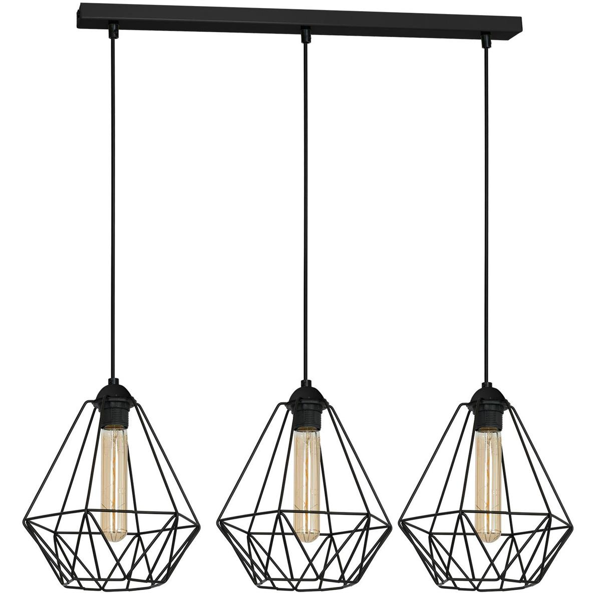 Lampa druciak kinkiet czarny x3 LOFT