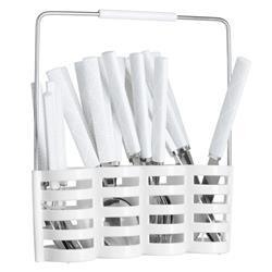Komplet 24 sztućców ze stojakiem białe