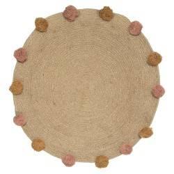 Jutowy dywan dla dzieci Pompoms 78 cm