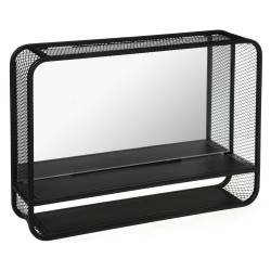 Metalowa półka ścienna Hattie z lustrem