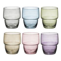 Komplet 6 kolorowych szklanek 280 ml