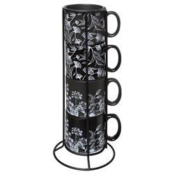 Komplet 6 filiżanek Black Floral 260 ml
