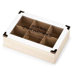 Pudełko na herbatę 6 przegródek białe
