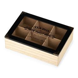 Pudełko na herbatę 6 przegródek czarne