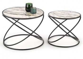 Komplet 2 stolików Susanna White Marble