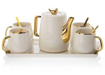 Serwis kawowy Noah White Gold