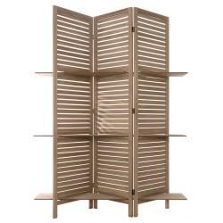 Parawan drewniany z półkami brązowy