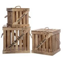 Komplet 3 skrzyń drewnianych Colonial