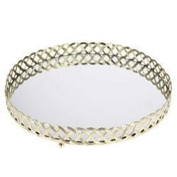Złota taca z lustrem okrągła 24 cm