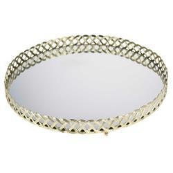 Złota taca z lustrem okrągła 29 cm