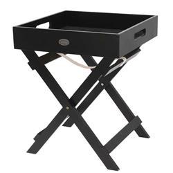 Stolik z tacą na nóżkach czarny drewno