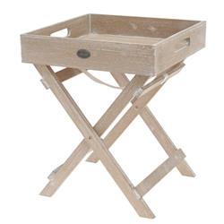 Stolik z tacą drewniany na nóżkach beż